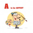 Alphabet A artist with paintbrush, decals stickers