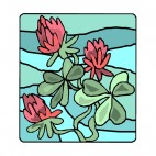 Red flowers with blue backround drawing, decals stickers