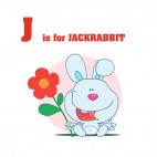Alphabet J is for jackrabbit blue bunny with red flower, decals stickers