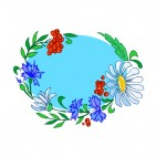 Blue daisies with purple flowers and red berries, decals stickers