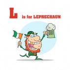 Alphabet L is for leprechaun leprechaun with irish flag, decals stickers