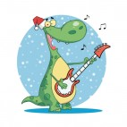 Dinosaur with santa hat playing guitar blue backround, decals stickers