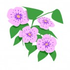 Purple and pink flowers with leaves, decals stickers