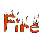 Fire title with flame drawing, decals stickers