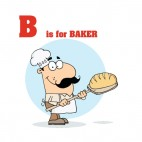 Alphabet B is for baker baker with bread , decals stickers