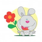 Grey bunny holding red flower yellow backround, decals stickers