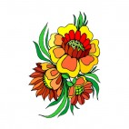 Red and yellow flowers with leaves, decals stickers
