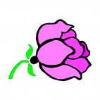 Pink rose with twig, decals stickers