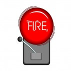 Black and red fire alarm with fire writing on bell, decals stickers