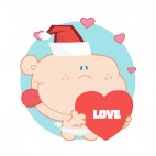 Cupid with santa hat holding heart with love writing, decals stickers