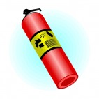 Fire extinguisher with directive written on it, decals stickers