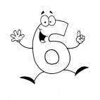 Happy number 6 six, decals stickers