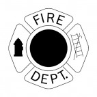 Fire Department badge with symbols, decals stickers