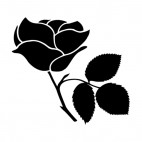 Rose with toothed leaves on twig silhouette, decals stickers