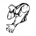 Muscular body stretching left arm and flexing right arm mascot, decals stickers