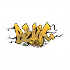 Yellow word graffiti crushed monster drawing, decals stickers