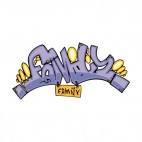 Blue family word graffiti, decals stickers