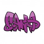Purple word graffiti, decals stickers