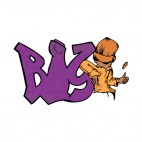 Purple bis word graffiti with man flipping coin, decals stickers