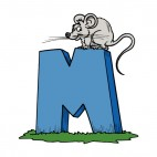 Alphabet blue letter M mouse standing on top of letter, decals stickers
