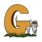 Alphabet brown letter G goat eating grass, decals stickers