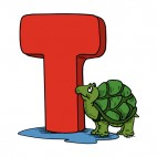 Alphabet red letter T turle looking at letter, decals stickers