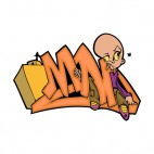Orange mad word graffiti with weird man drawing, decals stickers