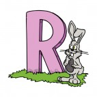 Alphabet pink letter R grey rabbit with weird face, decals stickers