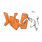 Orange word graffiti with woman face drawing, decals stickers