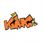 Orange king word graffiti with yellow crowns drawing, decals stickers