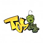 Tellow tos word graffiti with green plush drawing, decals stickers