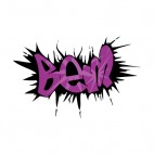 Black and purple bem word graffiti, decals stickers