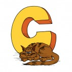 Alphabet yellow letter C brown cat laying down, decals stickers
