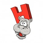 Alphabet red letter H hippo with scared face, decals stickers