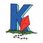 Alphabet blue letter K red kite leaning on letter, decals stickers