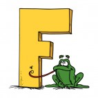 Alphabet yellow letter F green frog catching fly, decals stickers