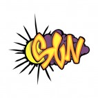 Yellow and purple sun word graffiti , decals stickers