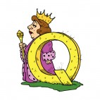 Alphabet yellow letter Q queen with purple dress, decals stickers