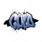 White and blue cold word graffiti, decals stickers