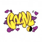 Purple and yellow calm word graffiti, decals stickers