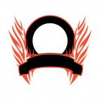 Black circle and red flames template , decals stickers