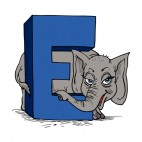 Alphabet blue letter E elephant standing next to letter, decals stickers
