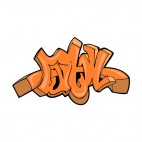 Orange word graffiti, decals stickers