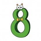 Green number 8 eight with bow tie, decals stickers