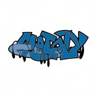 Blue word graffiti, decals stickers