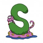 Alphabet green letter S purple and yellow snake , decals stickers