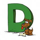 Alphabet green letter D brown dog with bone, decals stickers