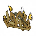 Brown word graffiti with eyes drawing, decals stickers