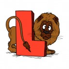 Alphabet red letter L brown lion with shy face, decals stickers