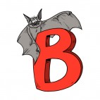 Alphabet red letter B bat standing on letter, decals stickers